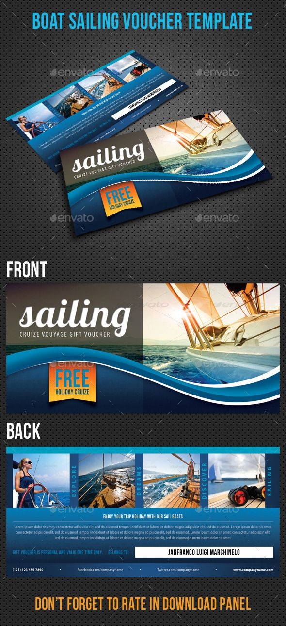 Boat Sailing Gift Voucher V32 Sailing gifts, Boating and Template - gift voucher template
