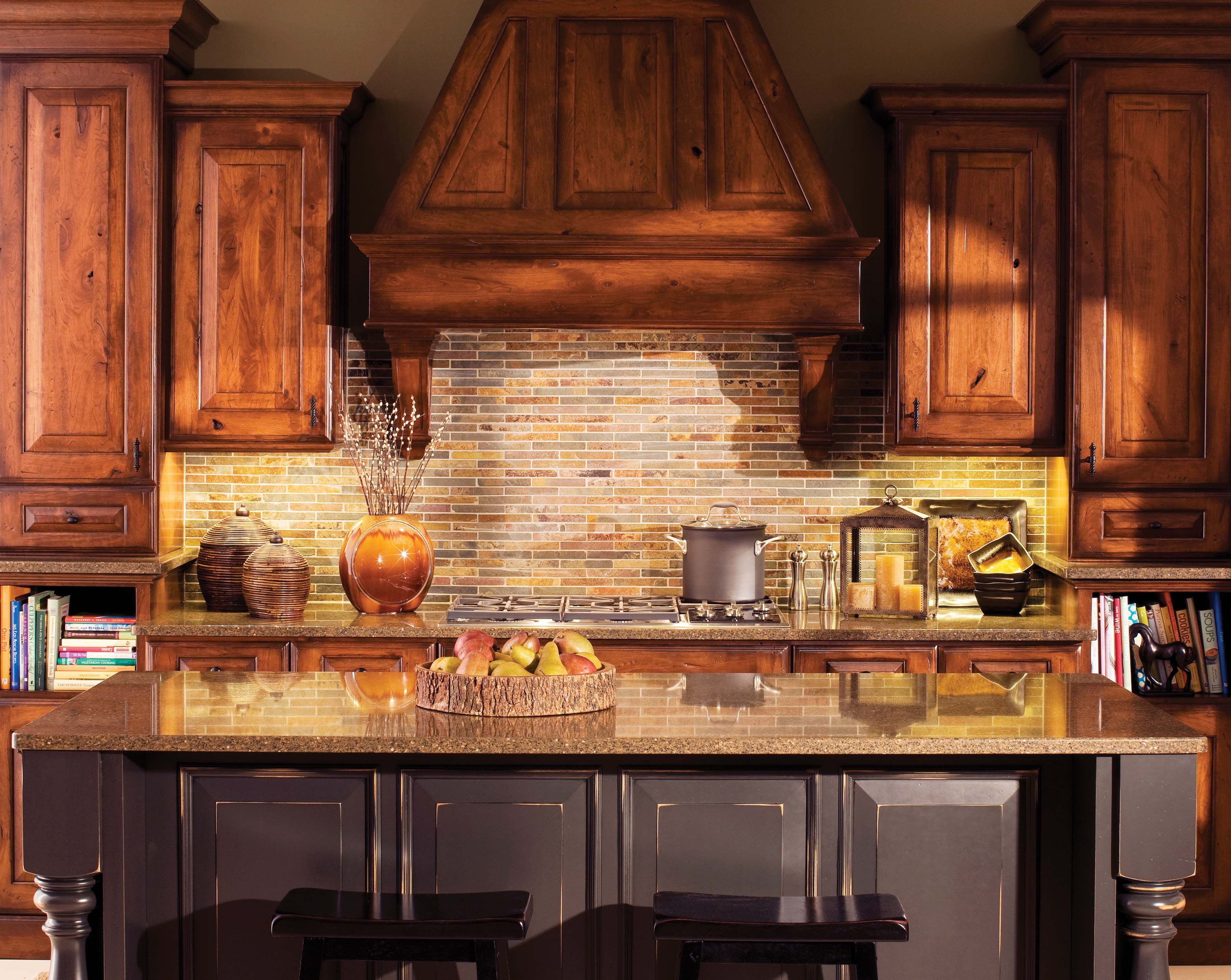 The brick work looks great with the cabinets Cabinets