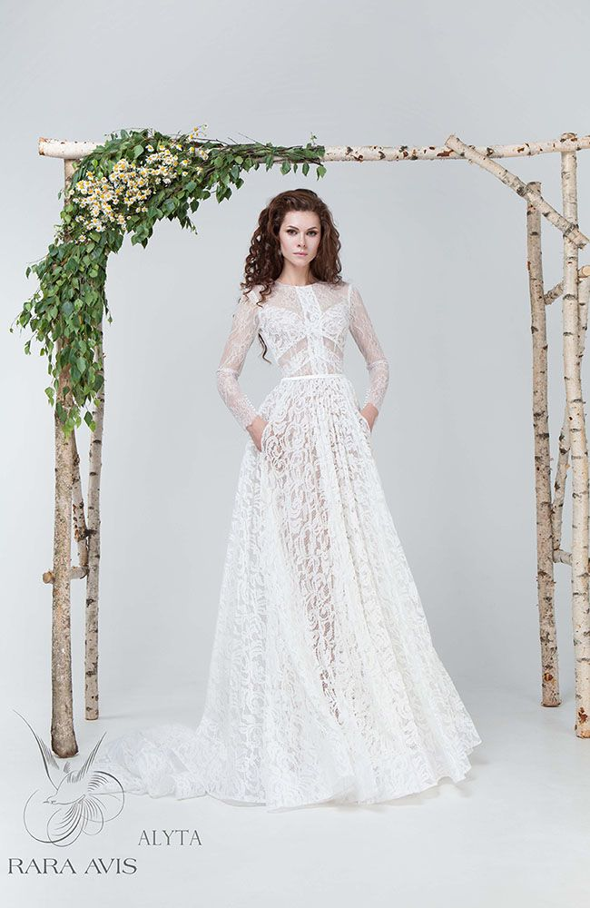 Chic lace vintage wedding dress \'Alyta\' with long lace sleeves and ...