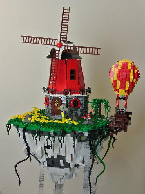 Lego Windmill in the skies (by cecilihf) | Lego Art | Lego