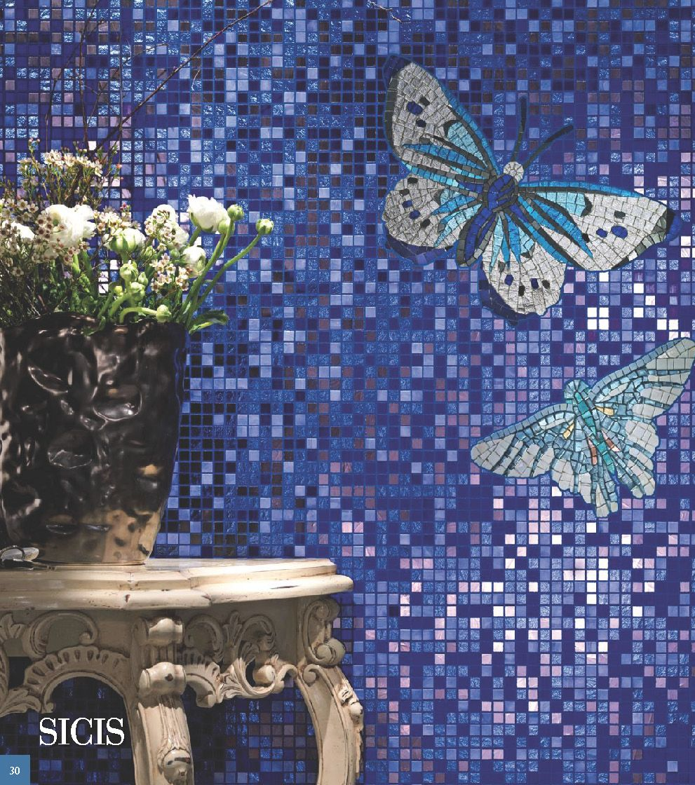 Sold custom made butterfly mosaic table top for mary ann in texas - Mosaico Collezioni Cataloghi Interattivi Glass Butterfly Sicis The Art Mosaic Factory