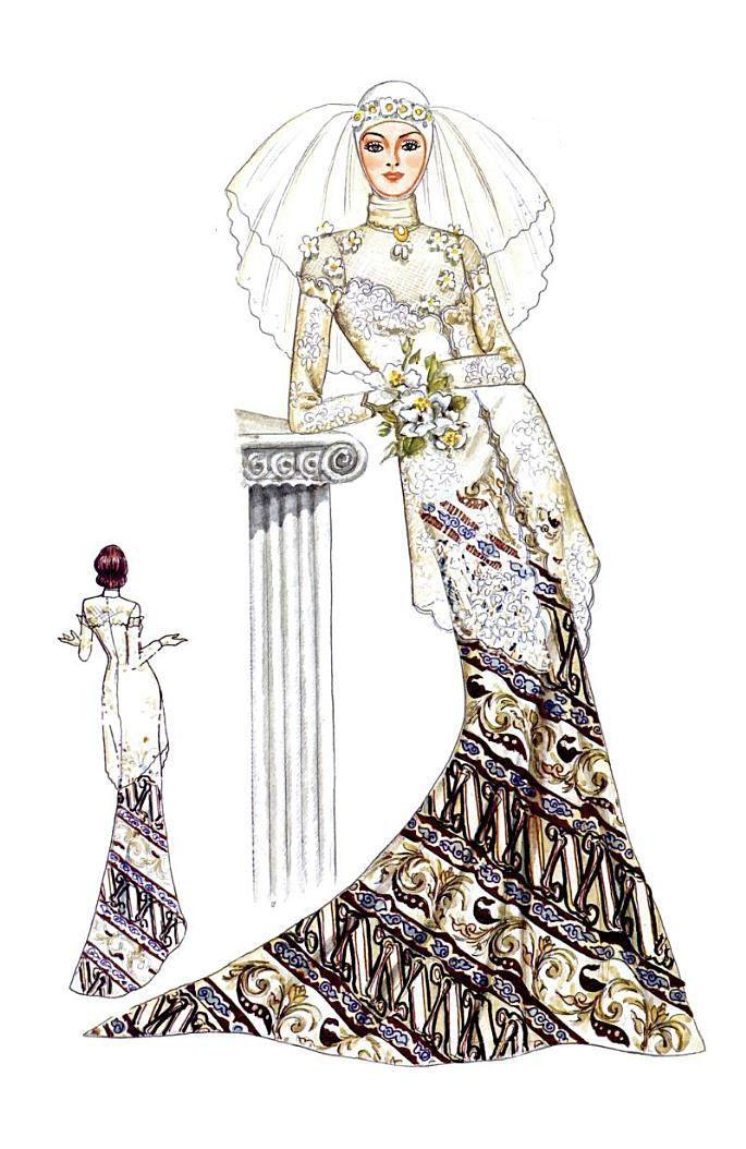Kebaya Dan Gaun Pengantin Muslim Tesettur Cizimler Gaun Sketsa