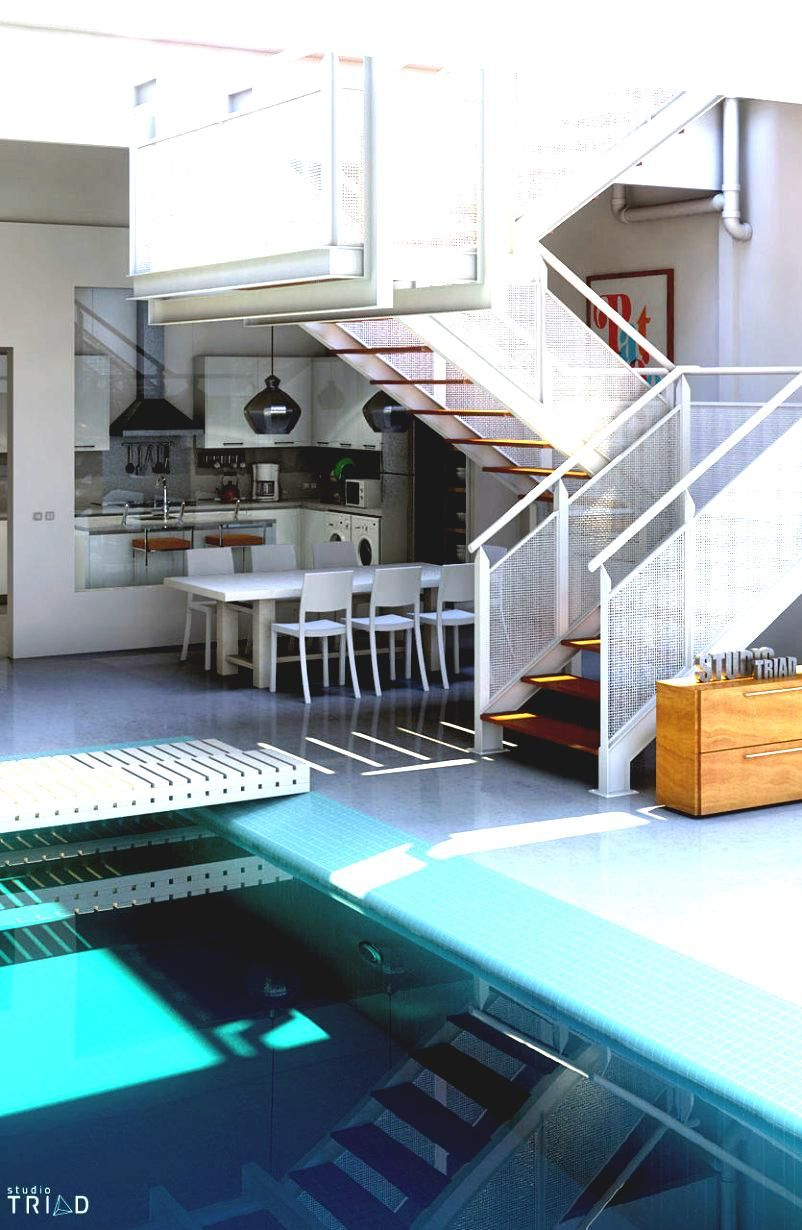 Swiming Pools White Stainless Stairs With Wall Decorations Also