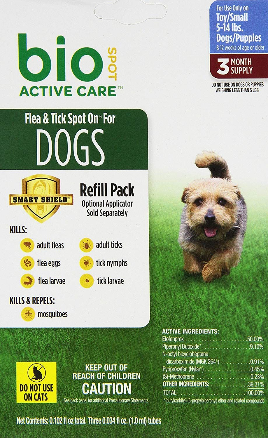 Bio Spot Active Care Flea And Tick Spot On For Small Dogs 5 14 Lbs 3 Month Refill Click Image To Review More Details This Is An A Fleas Small Dogs Dogs