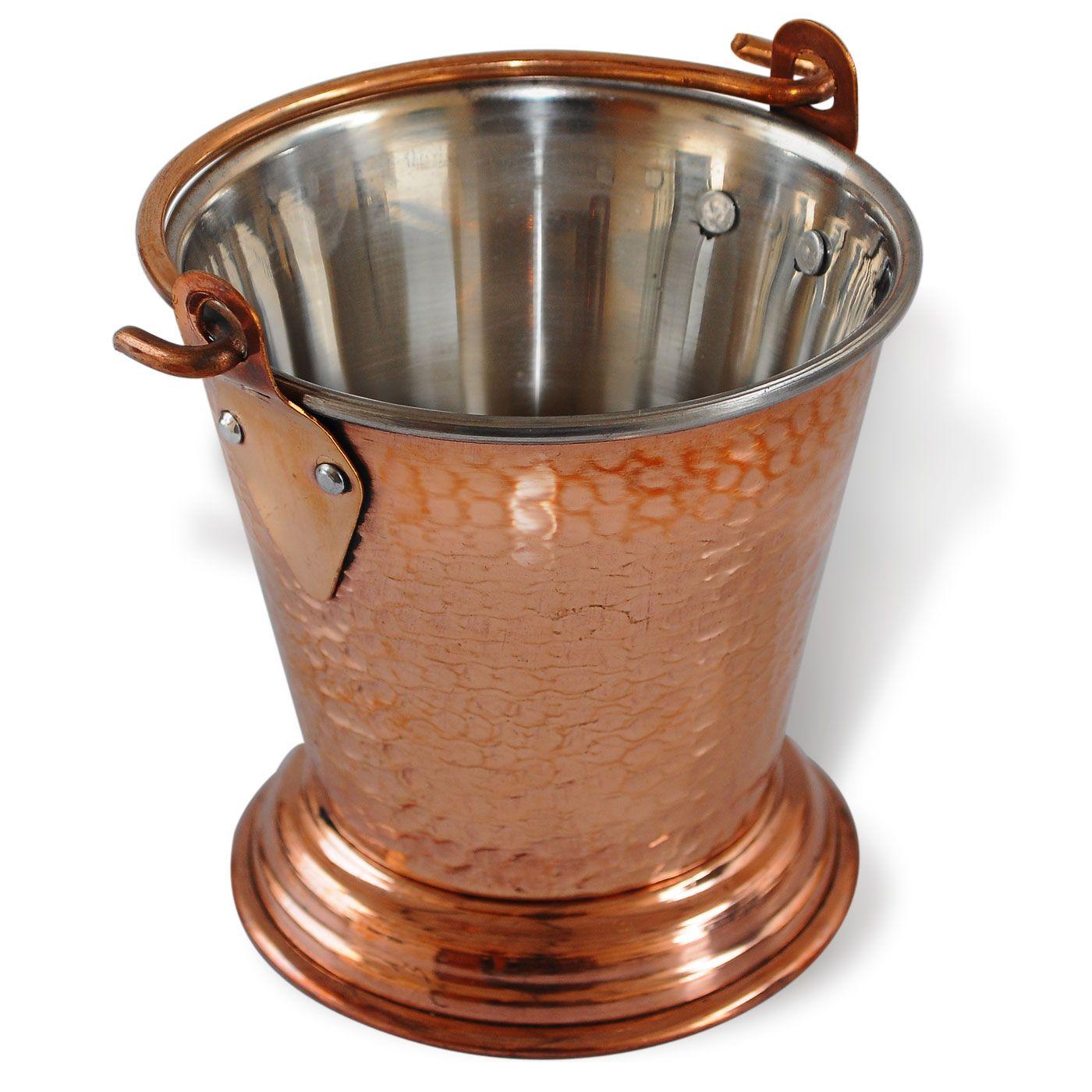 Serveware Copper Bucket For Serving Inner Steel Outer