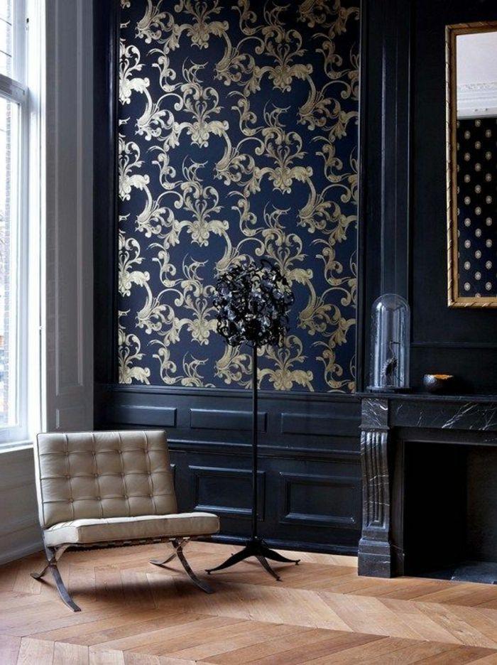 Wandtapeten Wohnzimmer Gestalten Sessel Holzboden Coole Stehlampe