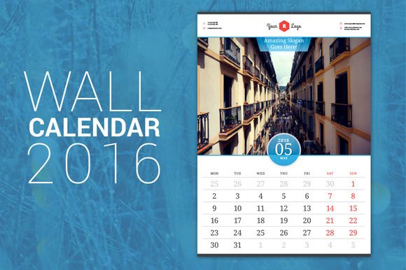 Wall Calendar 2016 by AntartStock on Creative Market – Sample Indesign Calendar