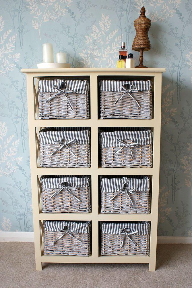 Selsey 8 Drawer Wicker Basket Storage Rattan Lamp Cabinet