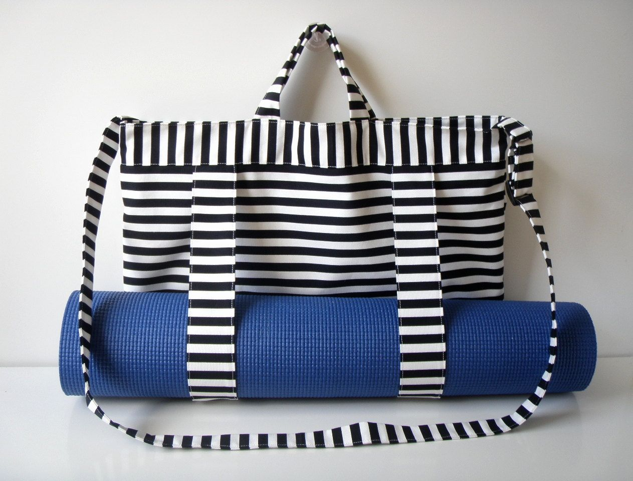 Yoga Mat Tote Bag Black White Stripes With Straps Handmade