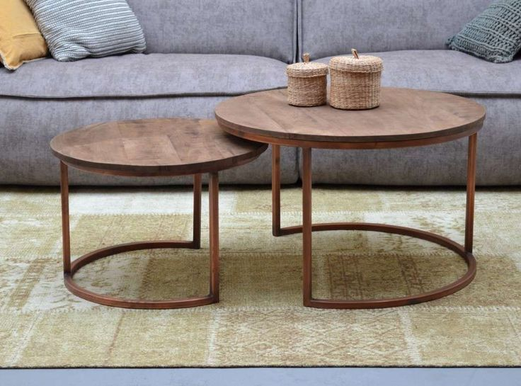 Couchtisch Jacky 2er Set aus Kupfer und Holz Mango Architecture