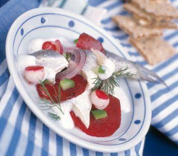 Matjes mit Radieschen und Roten Rüben