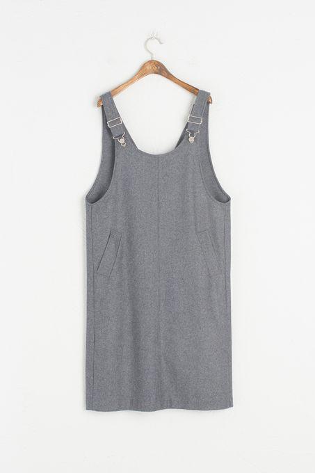 Side Pocket Detail Dungaree Dress, Grey, 70% Polyester, 30% Wool