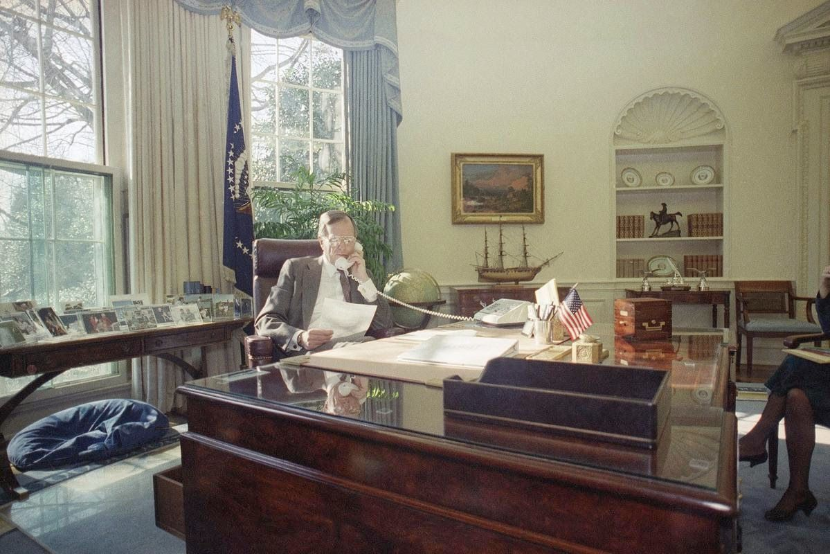 george bush oval office. President George H. W. Bush Speaks By Telephone From The Oval Office Of  White House George Bush Oval Office A