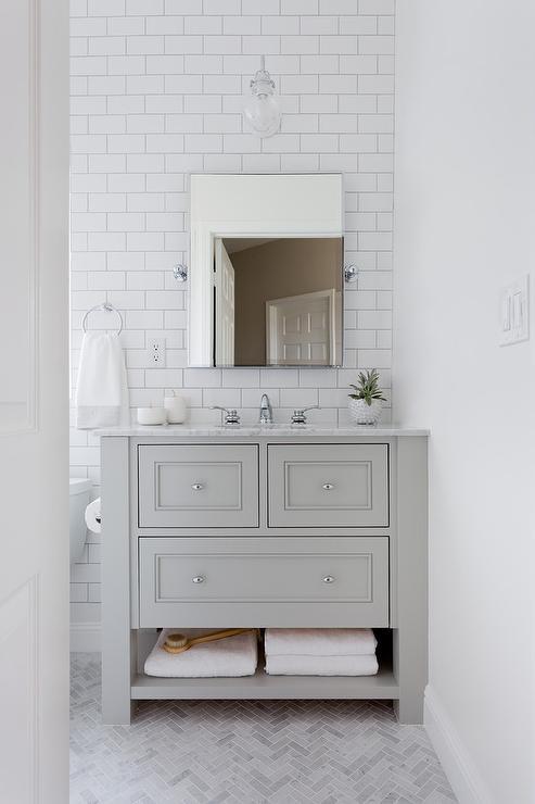 Small Light Gray Single Washstand With Thin Gray Marble Herringbone Floor Transitional Ba Grey Marble Floor Herringbone Marble Floor White Marble Bathrooms