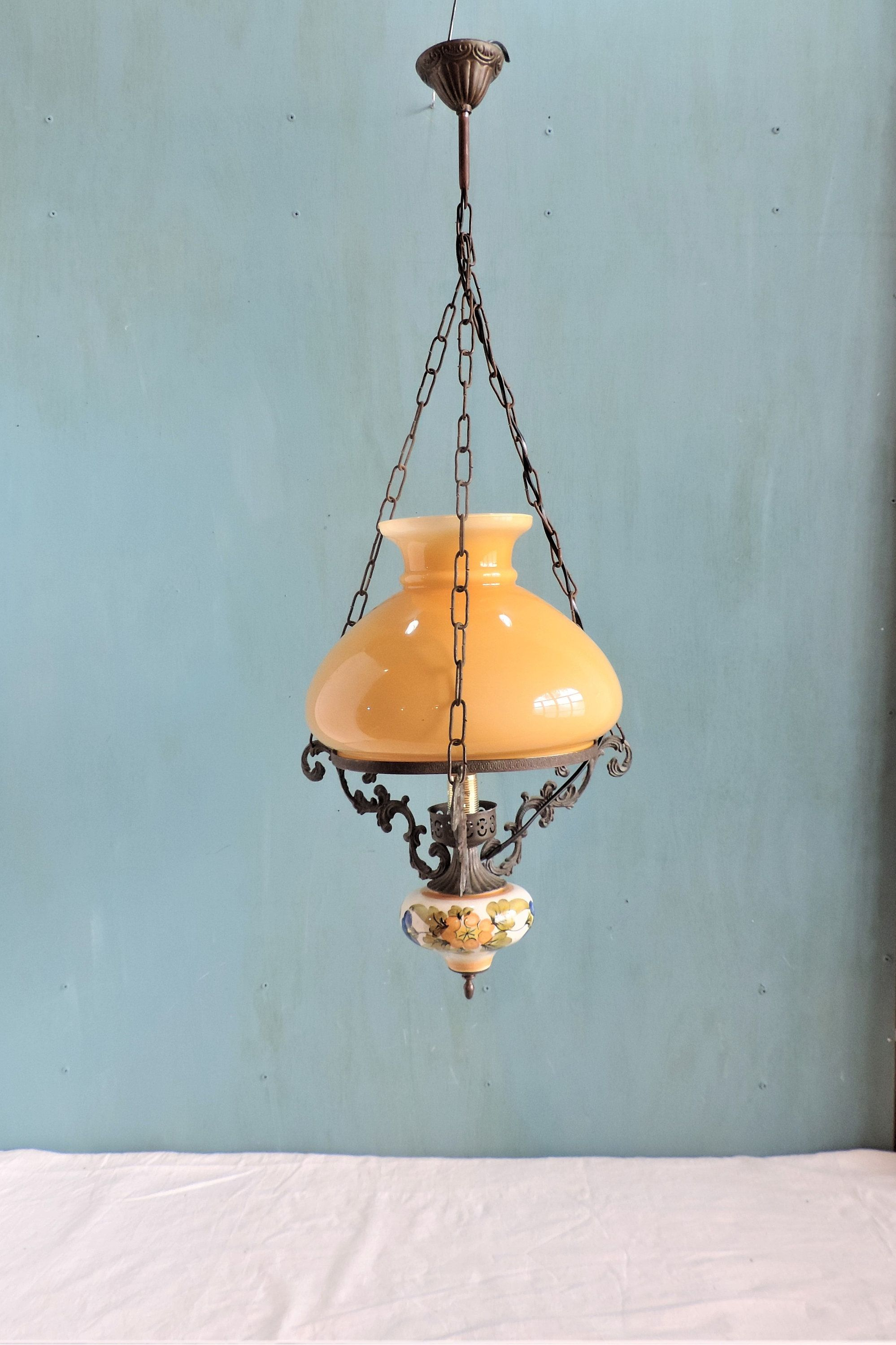A Vintage French Hurricane Pendant Lamp Ceiling Light With