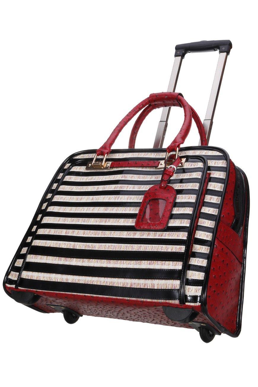 Vera May Travel Bag Designer Quality Striped Trolley Tokyo