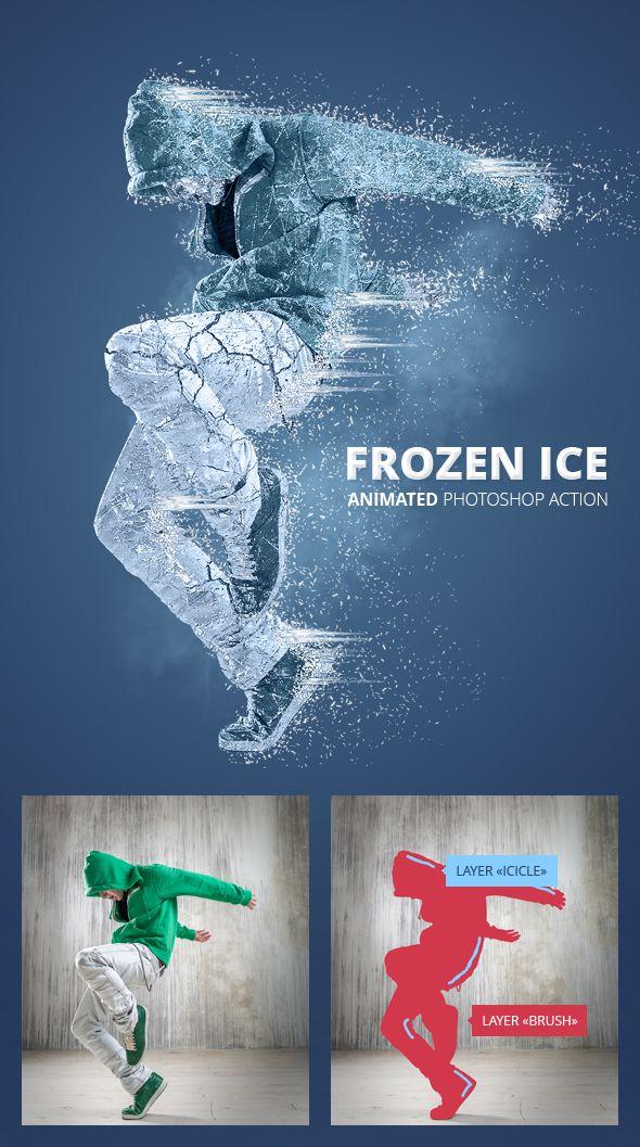 Frozen Ice Gif Animated Photoshop Action - Photo Effects