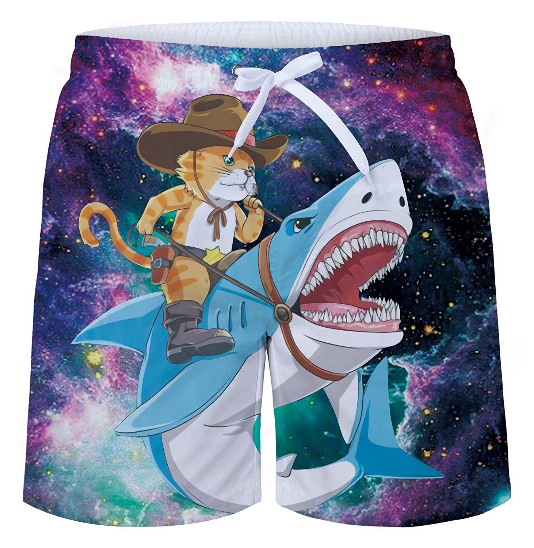 cbb6e728d7c68 Uideazone Men's Cat Ride Shark Print Swim Trunks Quick Dry Waterproof Bathing  Suits Beach Short