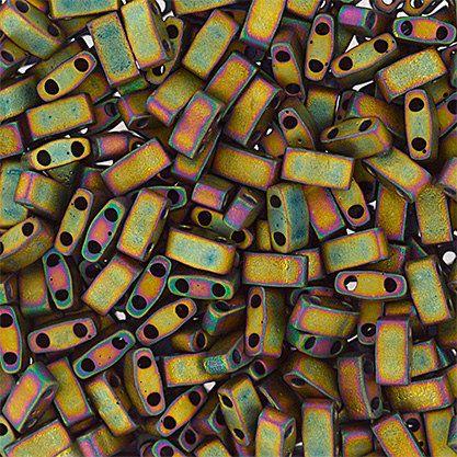HTL2035 10 Grams Miyuki Tila Half Cut Beads-Khaki Op.Matte Met.Iris