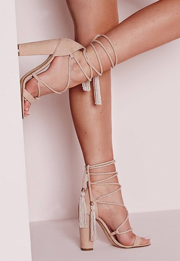 7c5d18713e0 Lace Up Tassel Block Heel Sandals Nude