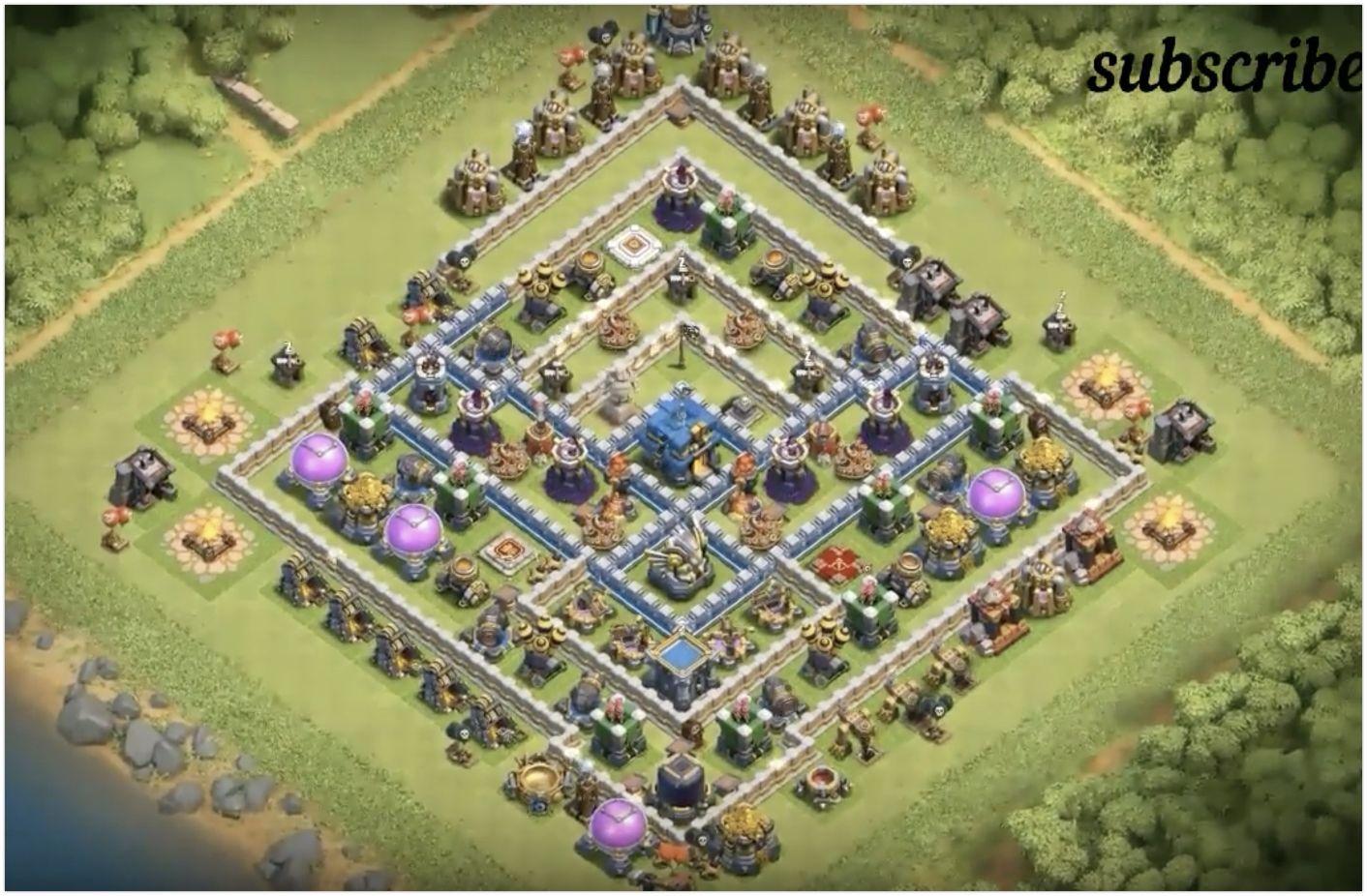 Best TH12 Trophy Base Design | Clash of Clans | Trophy base, Base