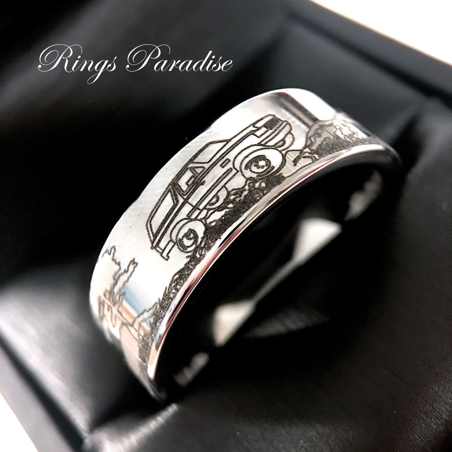 Mens Wedding Bands Custom Made Band Tungsten Ford Car Design