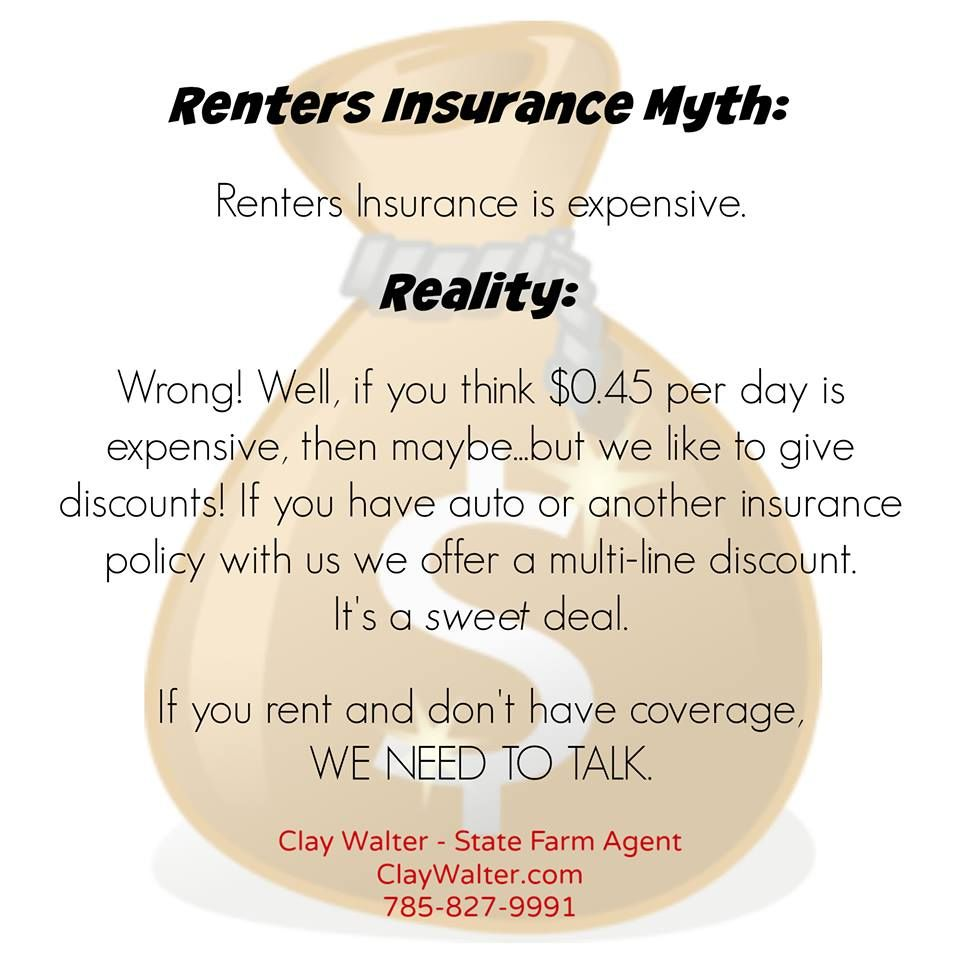 State Farm Auto Insurance Quote Adorable Renters Insurance Myth  Renters Insurance Isn't Expensive  Clay