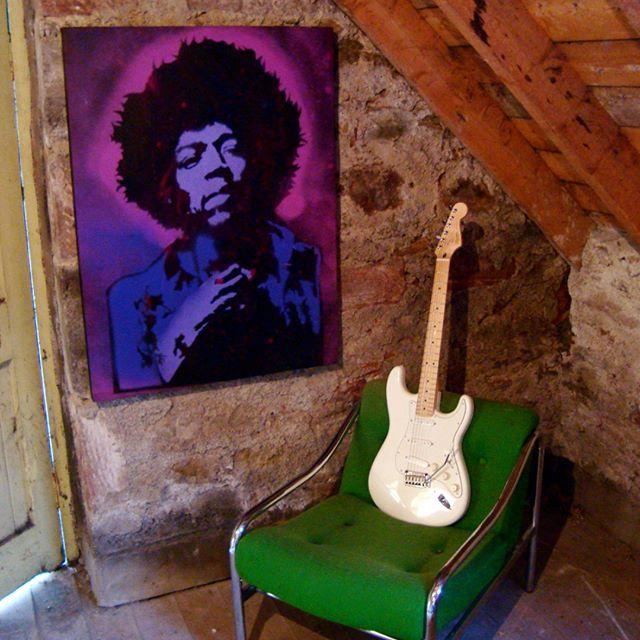 Jimi Hendrix - Purple Haze by Kyle Maclennan, www.headonart.com, www.etsy.com/uk/shop/HeadonArt, #jimihendrix #popart #headonart #fender #Stratocaster #gibson #guitar