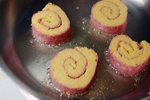 Polenta Salami Roll Up
