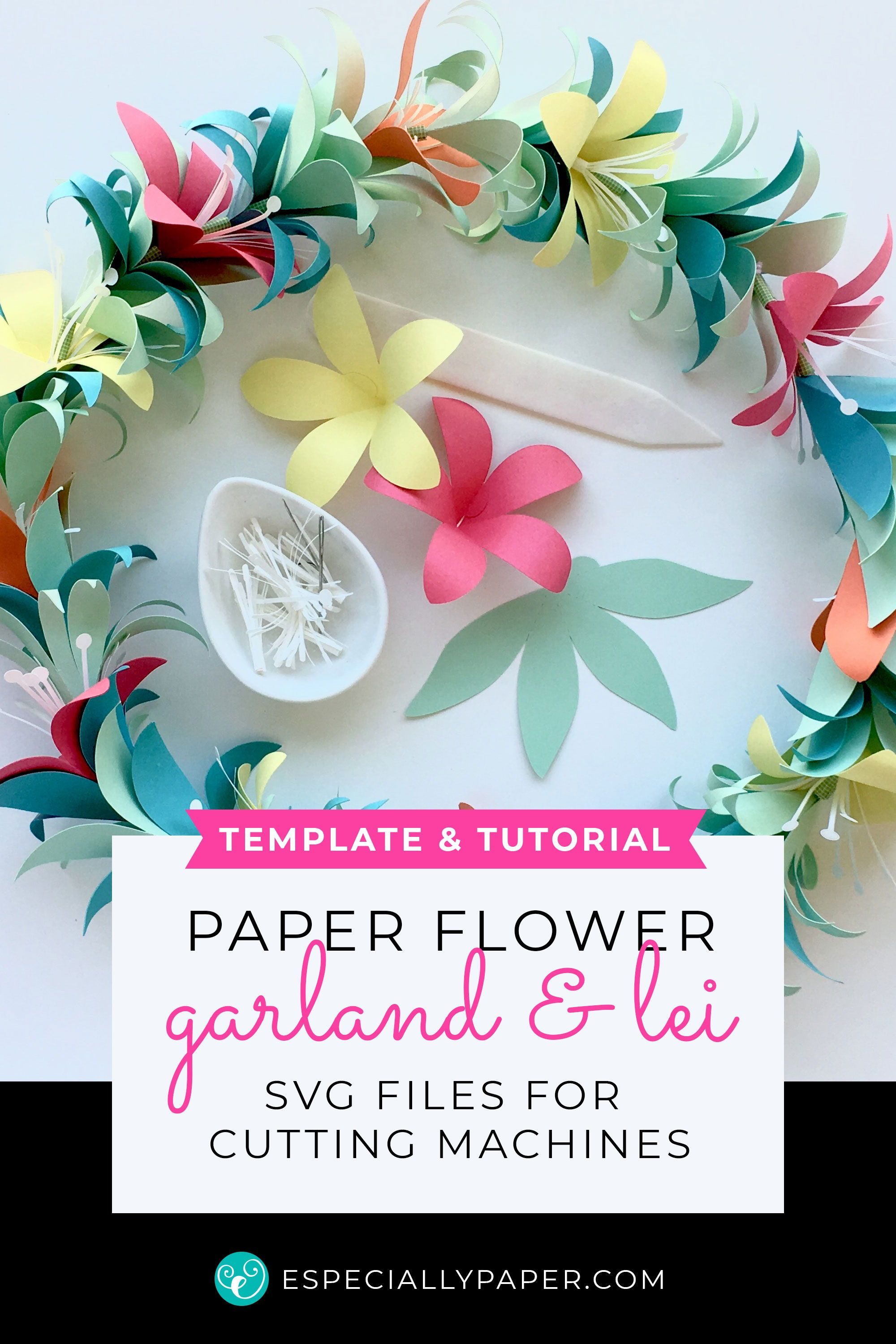 Tropical Flower Garland Lei Templates Svg Dxf Paper Flower