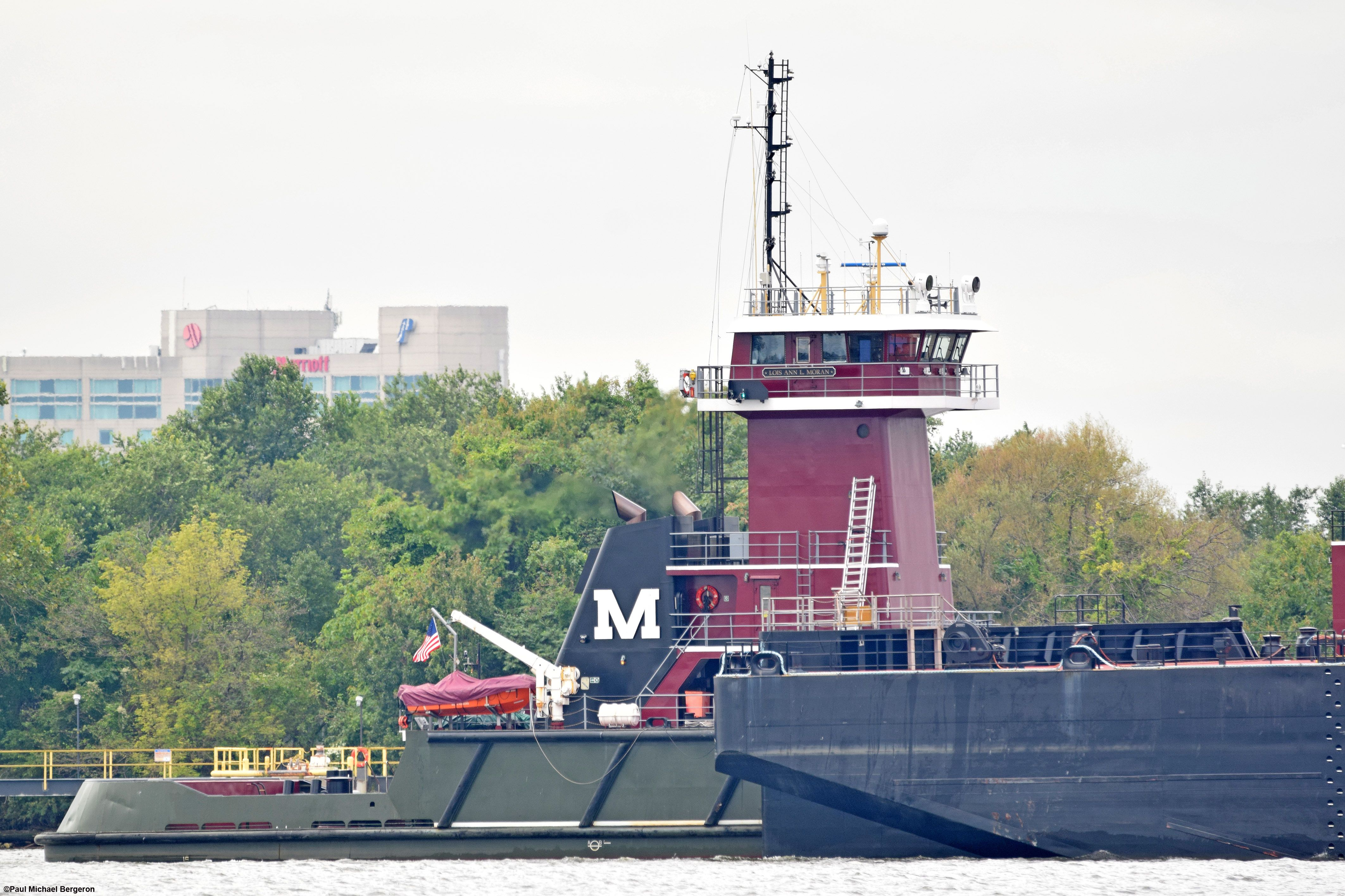 The Lois Ann L  Moran Tugboat on the Delaware River, passing