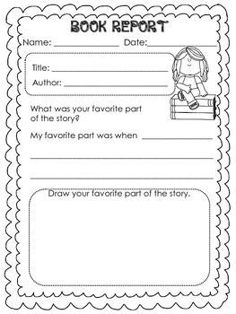 Book Report Templates For Kinder And First Graders  Book Report