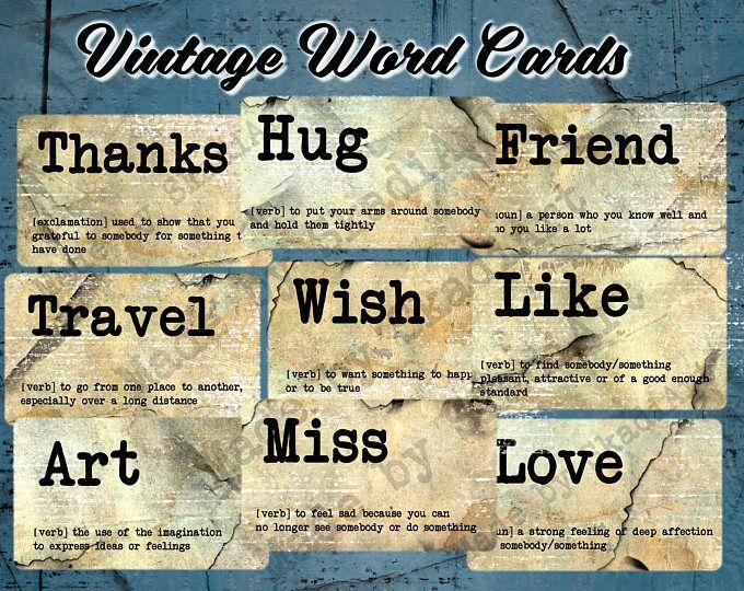 Printable Vintage Word Cards / digital ephemera tags ...