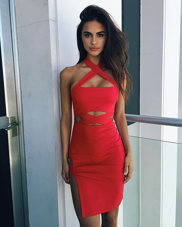 2f5a70076b4f9 Lady in red @sophiamiacova wears our 'Bossy' dress $59.95 / #tigermist