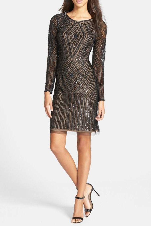 4311e946ddf Adrianna Papell Beaded Sequin Mesh Sheath Short Dress Long sleeves ...