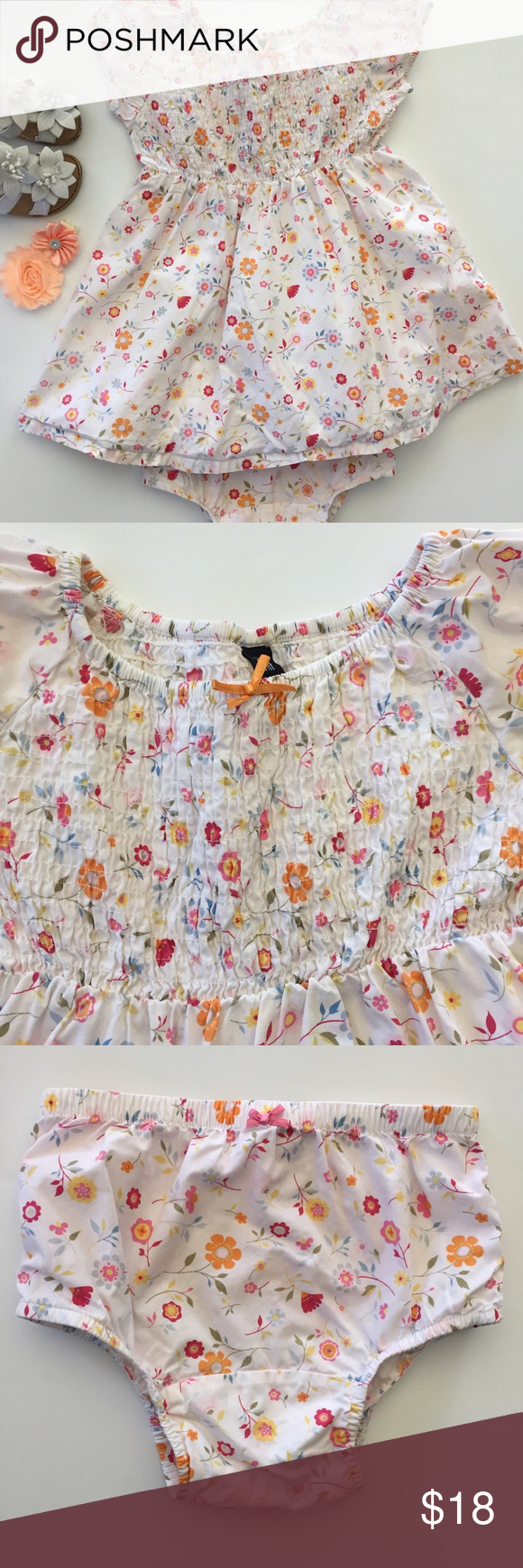 Baby Gap Special Occasion Dress Lovely white dress with dainty floral pattern.  It's perfect to bring in the Spring and wear for pictures or on holidays.  It has a smock chest, cap sleeves with elasticized hems, and matching bloomers. Size 18-24M but fit up through 2T.  Shoes and hair bow sold separately. GAP Dresses