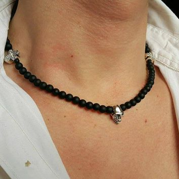 MENS SKULL NECKLACE Onyx Necklace Cross Necklace Matt Onyx Necklace