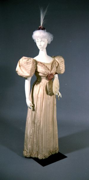 Lavender and Cream Striped Taffeta Dress Made by Slater Sisters, St. Louis. (1892)