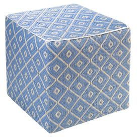 Veria Footstool in Faded Denim & White Sand
