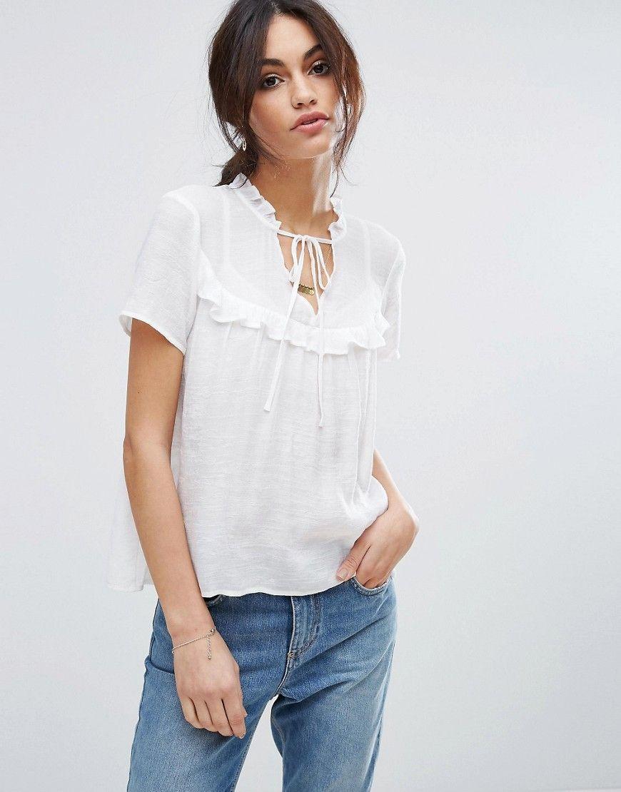 ad27f5c7323 VERO MODA LACE UP RUFFLE DETAIL SMOCK TOP - WHITE. #veromoda #cloth ...