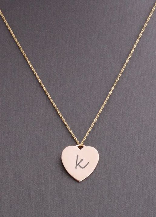 Heart Shape 14k Gold Personalized Necklace Tag Initial
