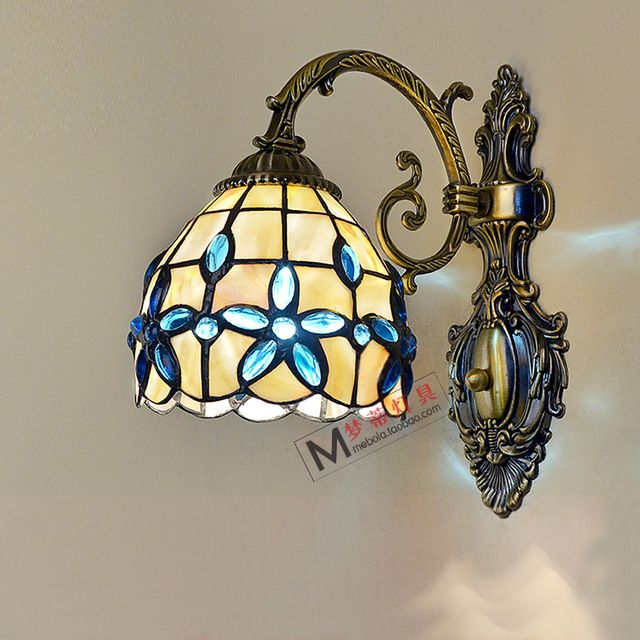 Mediterranean Tiffany Wall Lamp Stained Glass Continental Warm Wall Bathroom Mirror Front Fixtures Bedside St Stained Glass Mirror Wall Lamp Mirror With Lights