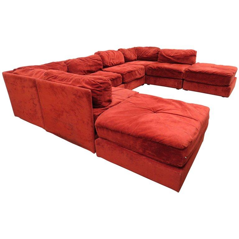 Swell Milo Baughman Sectional Sofa Style Eight Piece Ottoman Customarchery Wood Chair Design Ideas Customarcherynet