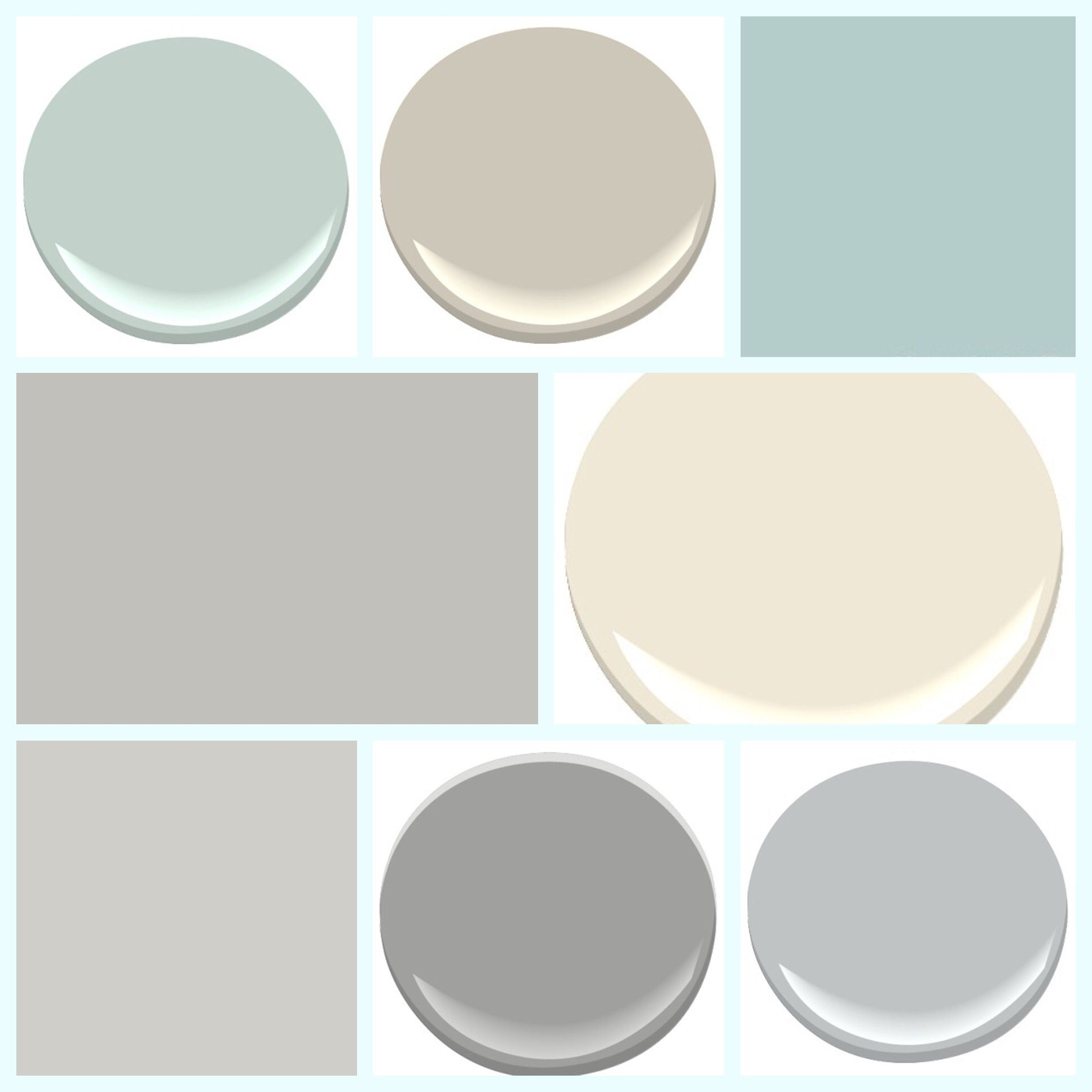 Top Row Palladian Blue Benjamin Moore Hc 144 Revere Pewter 172 Watery Sherwin Williams Sw6578 Middle Light French Gray Sw0055
