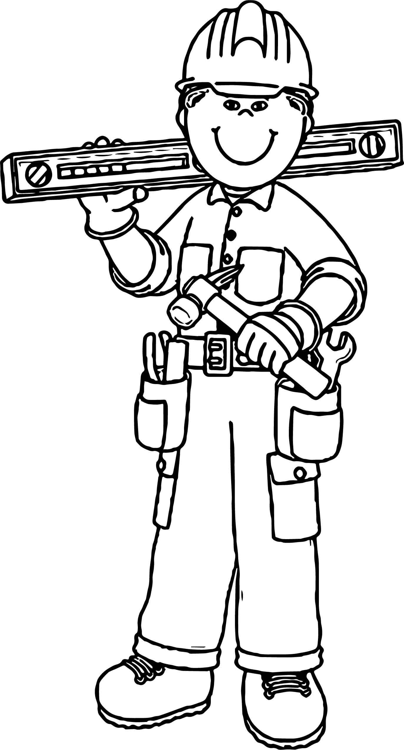 Nice Carpenter Boy Coloring Page