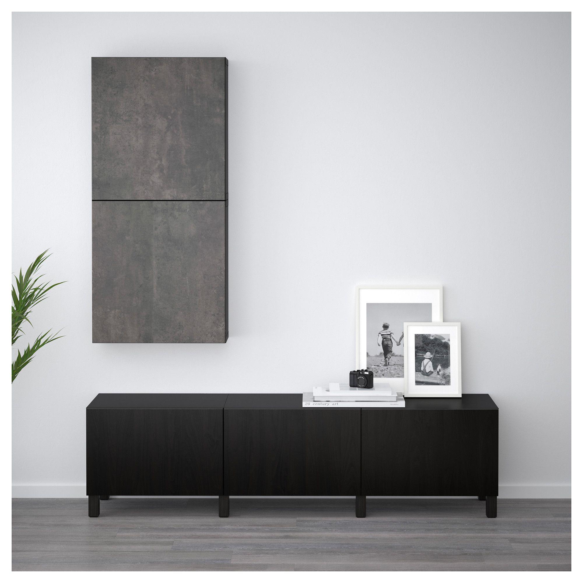 Ikea Besta Wall Cabinet With  Doors Black Brown