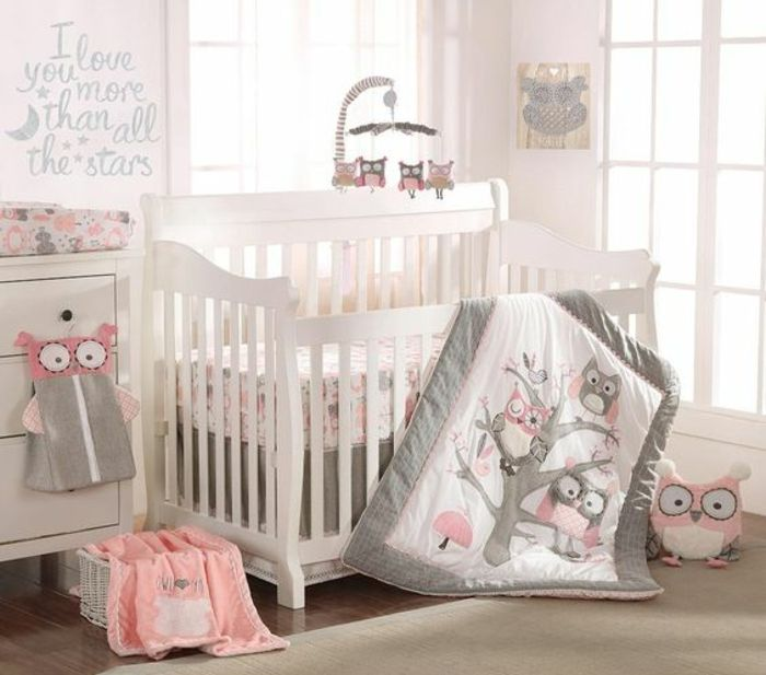 Babyzimmer Gestalten Ideen In Weiß Grau Und Rosa Eulen Dekoration Decke  Babybett Wandtattoo Spielzeuge | Einrichtungsideen | Pinterest | Baby  Zimmer And ...