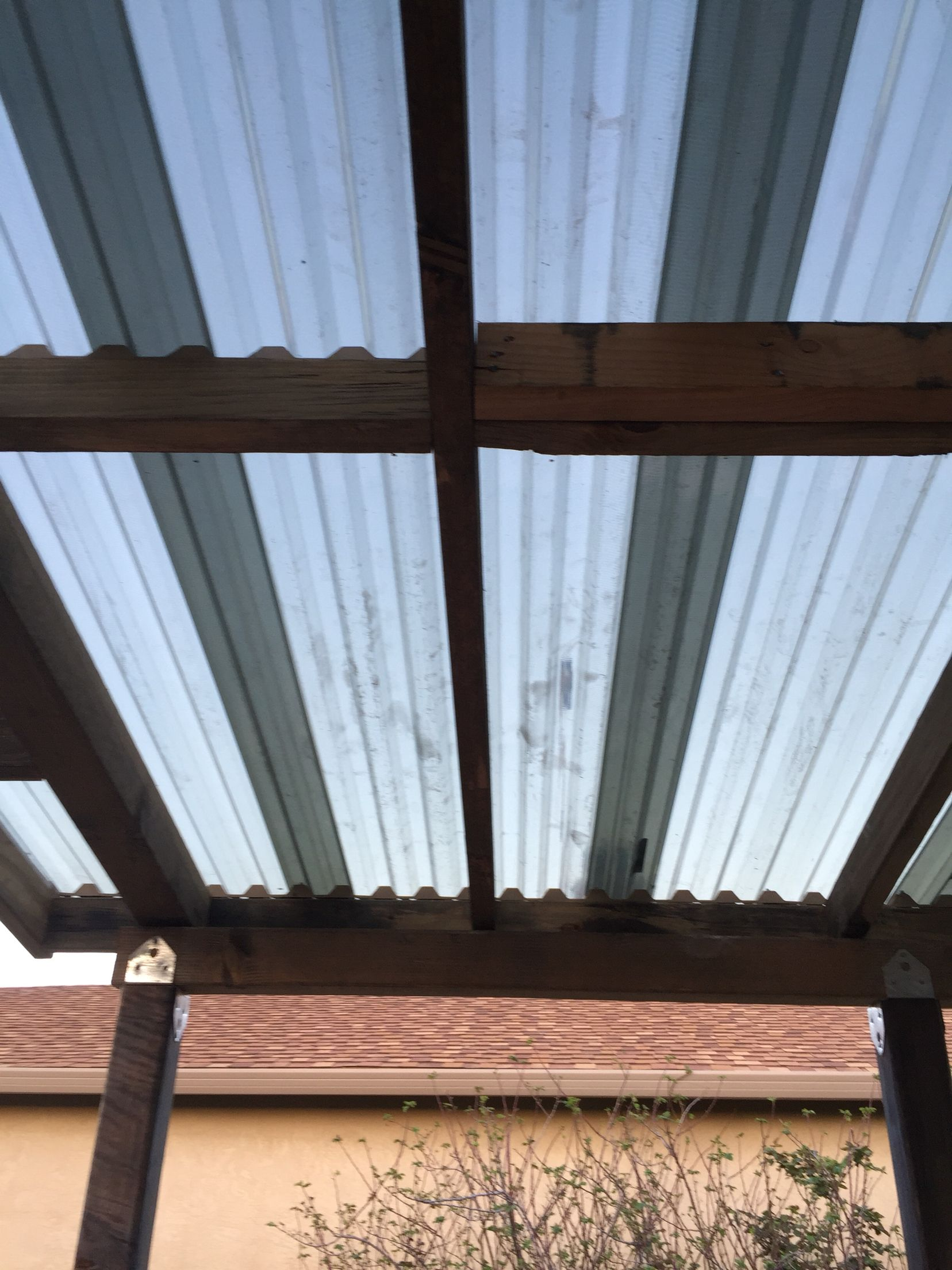 Roof Is Great I Used Suntuf Solar Grey Color Which Allows 35 Of Sunlight To Come Through The Roo Carport Canopy Pergola With Roof Christmas Village Houses