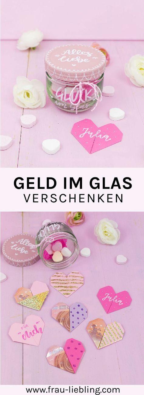 DIY Geschenk im Glas: Origami Herzen aus Geldscheinen #gifts