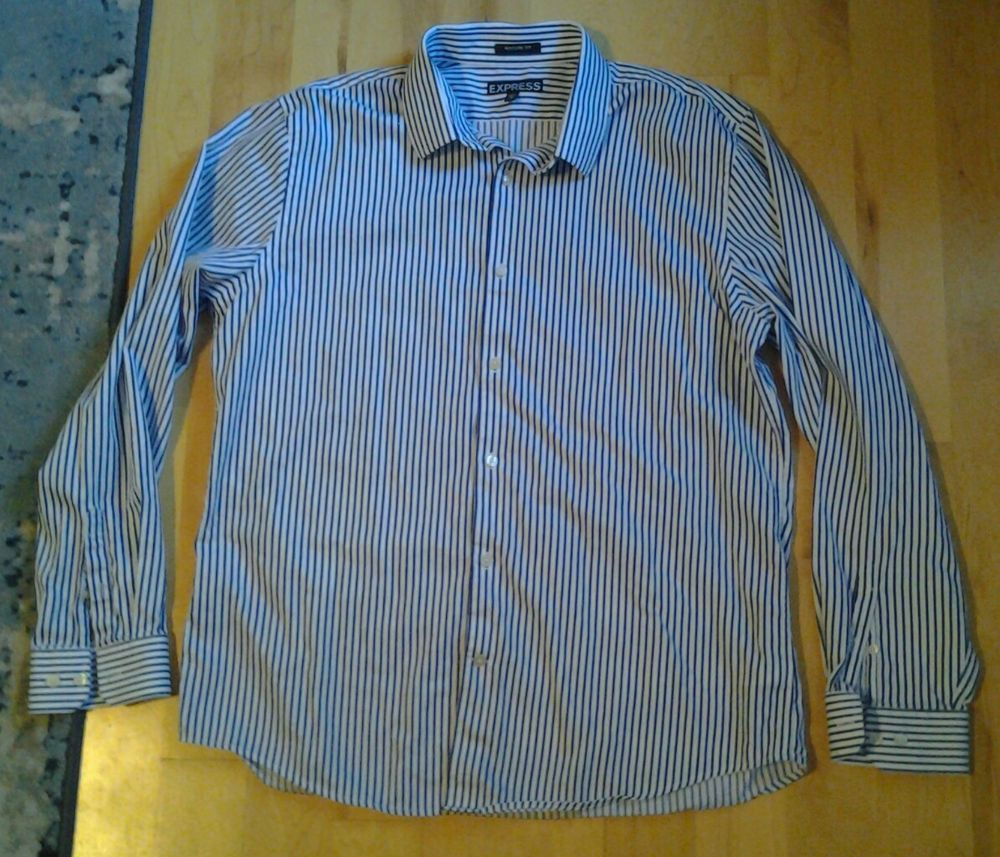 51c89849e3 Mens Express Modern Fit button-up dress shirt blue white stripes size XL  #fashion #clothing #shoes #accessories #mensclothing #shirts (ebay link)